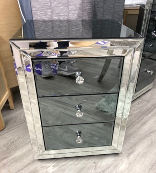 * Smoked Dark Grey Mirrored 3 Draw Bedside Chest in stock