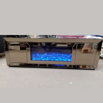 Mirrored TV Entertainment Unit with built in electric Fire 150cm