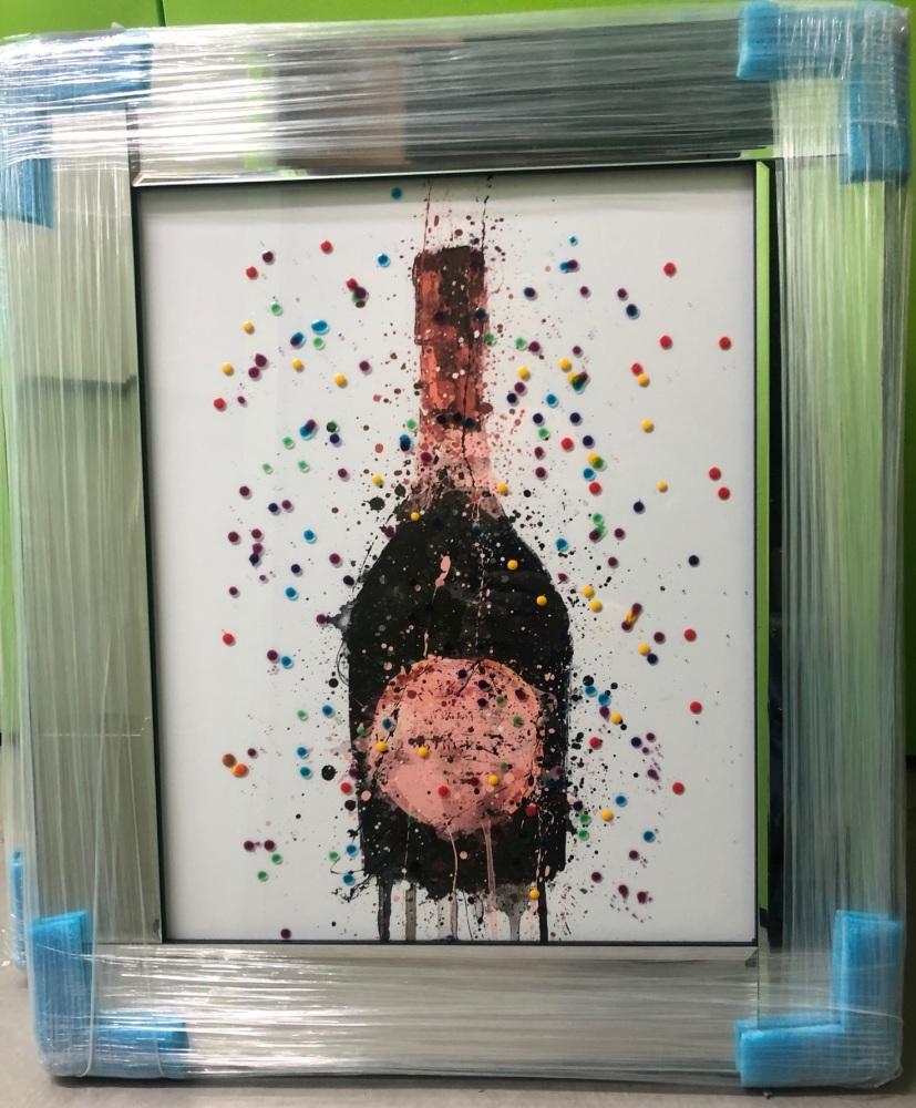 ** Champagne Graffiti wall Art  Mirrored Frame ** 75cm  x 55cm