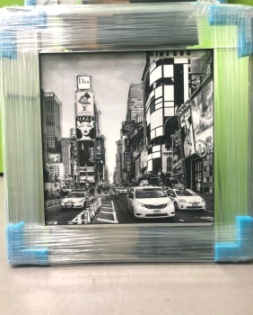 Boutique New York  Glamour Art in a Mirrored Frame 55cm x 55cm in stock