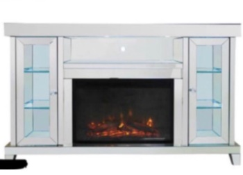 Mirrored Sideboard in  2 Door Display Unit  with electric fire Built - out of  Stock