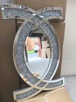 "New Diamond Crush ""CC"" Wall Mirror 80cm x 60cm In stock"