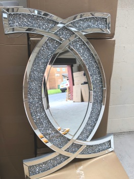 """New Diamond Crush """"CC"""" Wall Mirror 80cm x 60cm SOLD OUT NO DUE DATE CURRENTLY OF STOCK"""