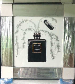 "Sparkle Glitter Art ""Chanel Perfume"" Mirror frame in stock"