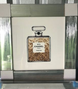 "Mirror framed Sparkle Glitter Art ""Chanel Coco Perfume"""
