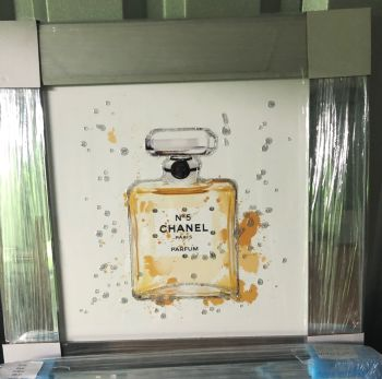 "Mirror framed Sparkle Glitter Art ""Chanel Coco"" in stock"