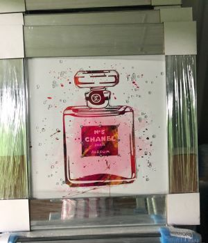 "Mirror framed Sparkle Glitter Art ""Chanel Coco Perfume"" in stock"