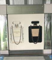 "Sparkle Glitter Art ""Chanel Perfume Duo"" mirror  framed in stock"