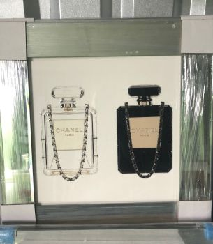 "Sparkle Glitter Art ""Chanel Perfume Duo"" mirror  framed in stock"