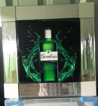 ** Gordons Gin Glitter Art Mirrored Frame ** 55cm x 55cm  in stock for a quick delivery