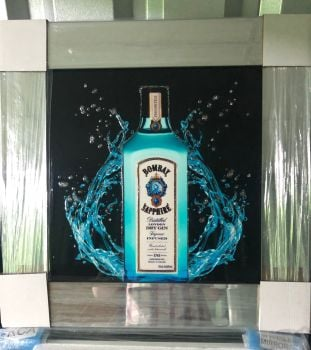 ** Bombay Sapphire Glitter Art Mirrored Frame ** 55cm x 55cm  in stock for a quick delivery