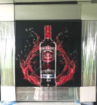 ** Smirnoff Vodka 2 Glitter Art Mirrored Frame ** 55cm x 55cm
