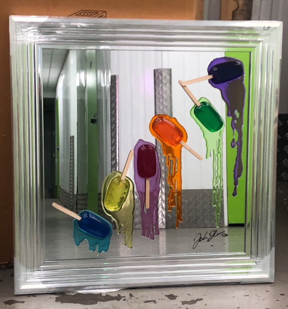 Jake Johnson 3D colourful falling Ice Lollies (A) wall art on a Mirror  bac