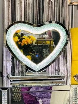 * New Diamond Crush Sparkle LED Heart Wall Dresssing Table Mirror