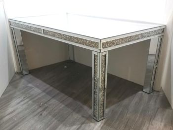 * Diamond Crush Sparkle Mirrored Dining Table 130cm x 90cm  in stock