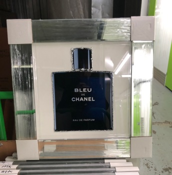 "Mirror framed Sparkle Glitter Art ""Chanel  Perfume Bleu"" In stock for a fast delivery"