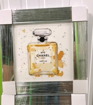 "Mirror Framed Sparkle Glitter Art "" Chanel No5 Paris ""  (B) In stock"