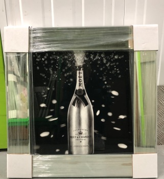 ** Moet Champagne  Silver Glitter Art Mirrored Frame ** 57cm x 57cm in stock for a quick delivery
