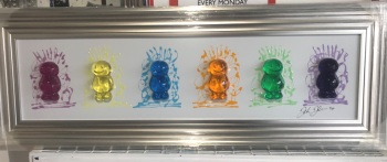 Jake Johnson 3D colourful Jelly Babies wall art on a white gloss backgrounD in a Brushed silver Champagne stepped frame 52cm x 92cm