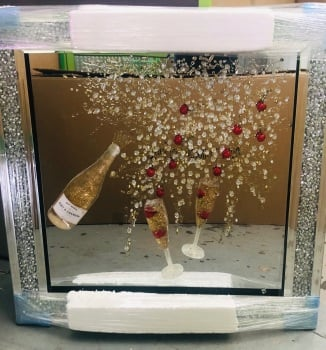 3D Moet & Fruit Champagne Flutes wall art on a mirror background Diamond Crush frame