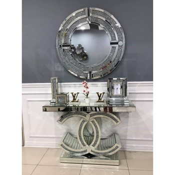 "*Diamond Crush crystal Sparkle Large ""CC"" Console Table & Round Mirror out of  stock"