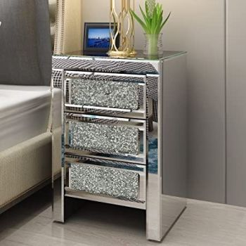 * Marseille Diamond Crush Mirrored 3 Draw Bedside Chest with a Diamond crush Draws