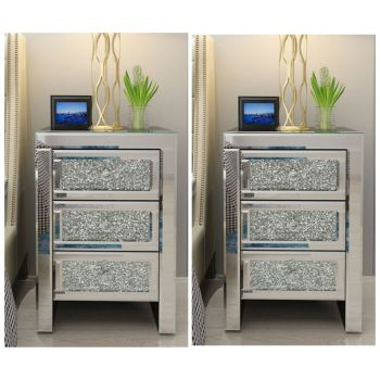 * Marseille Diamond Crush Mirrored 3 Draw Bedside Chest with a Diamond crush Draws x (2 a pair)