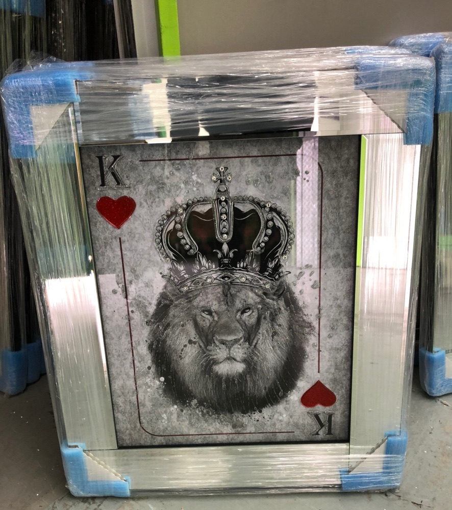 Mirror framed  Playing Card Art Wall Art  King of Heart Lion  in a mirror f