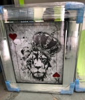 Mirror framed  Playing Card Art Wall Art  King Lion  in a mirror frame