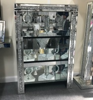 * Diamond Crush Crystal Mirrored 3 Shelf Display Unit