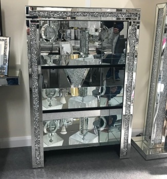 * Diamond Crush Crystal Mirrored 3 Shelf Display Unit
