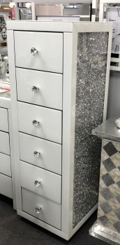 * Monica Diamond Crush Mirrored White 6 Draw Tallboy Chest with a Diamond crush sides - in stock