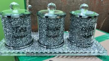 """ New Diamond Crush Set of 3 Tea, Coffee and Sugar Jars with Diamond crush Tray  item in stock"