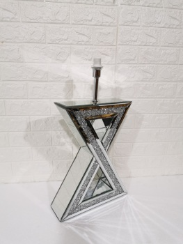 *Diamond Crush Crystal Sparkle Mirrored X Table Lamp