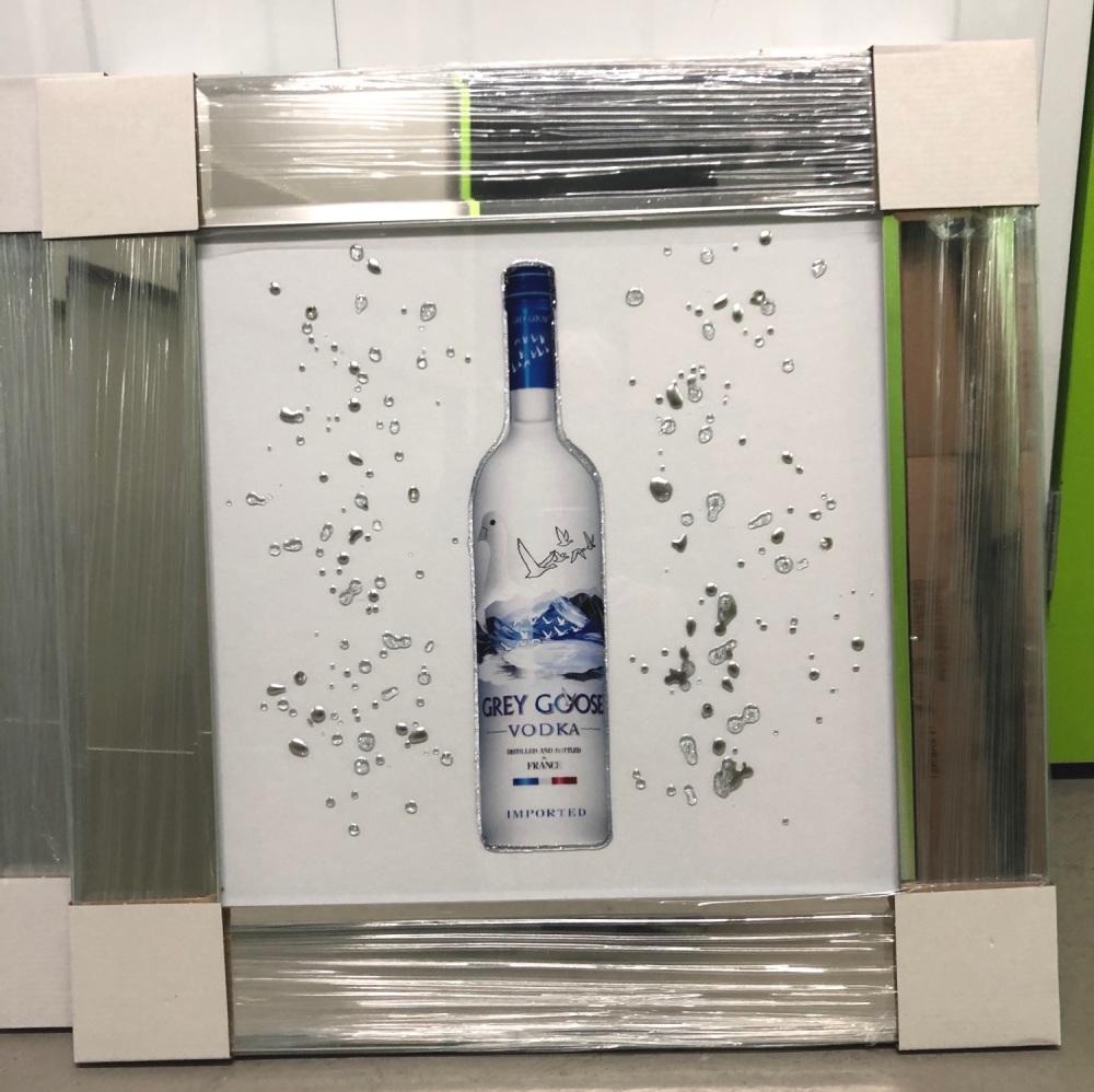 ** Grey Goose  Glitter Art Mirrored Frame ** 57cm x 57cm