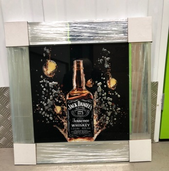 ** Jack Daniels Glitter Art Mirrored Frame ** 55cm x 55cm  in stock for a quick delivery