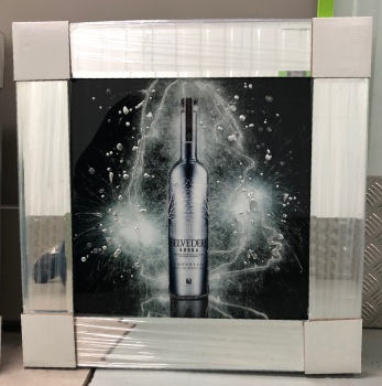 ** Belvedere Vodka Glitter Art Mirrored Frame ** 55cm x 55cm in stock