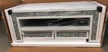 * Diamond Crush Sparkle White Mirrored TV Entertainment Unit border trim in stock
