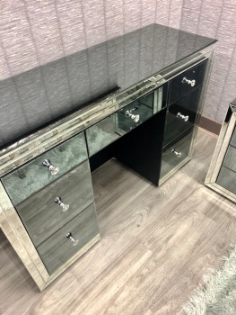 *Atlanta Smoked Grey  & Mirrored 7 Draw Dressing Table  in stock