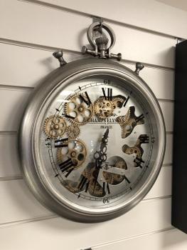 Pewter Silver Faux pocket watch Skeleton Clock - 50cm high x 40cm wide