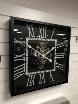 Silver & Black Square Skeleton Clock - 56cm
