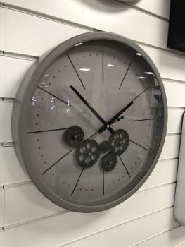 Grey & White Round Skeleton Clock - 46cm