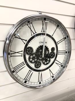 Silver & White Round Skeleton Clock - 54.5cm