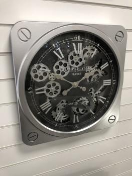 Silver & Black Square Skeleton Clock - 49.5cm