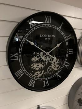Silver & Black Round Skeleton Clock - 59.5cm - CA024