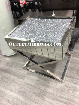 *New Diamond Crush Elegance Crystal Mirrored Lamp Table with cross frame - in stock