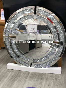 Diamond Crush Sparkle Round Silver Wall Mirror 100cm dia special offer -item in stock