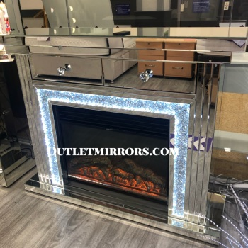 Diamond Crush Sparkle Monica Mirrored 2 draw fire surround with  electric fire  -sold out until late june / july