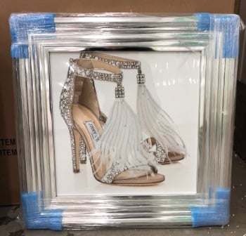 """Glitter Sparkle London Feather Shoe"" in silver stepped frame"