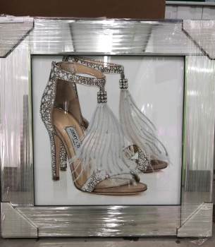 """""""Glitter Sparkle London Feather Shoe"""" in  a mirror  frame"""